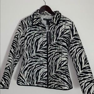 100% Silk Anne Carson Quilted White Tiger Jacket